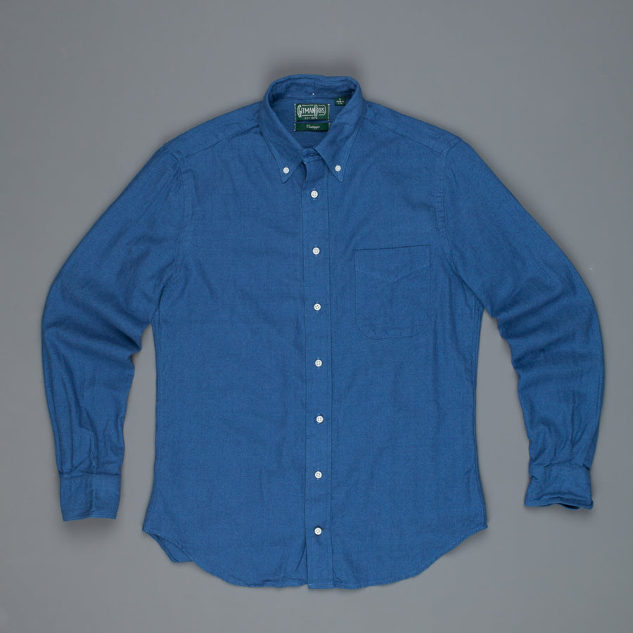 Gitman Vintage Button Down Shirt bright blue herringbone flannel