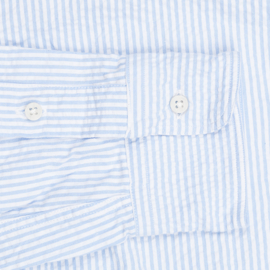 Gitman Vintage longsleeve button down shirt seersucker stripe light blue