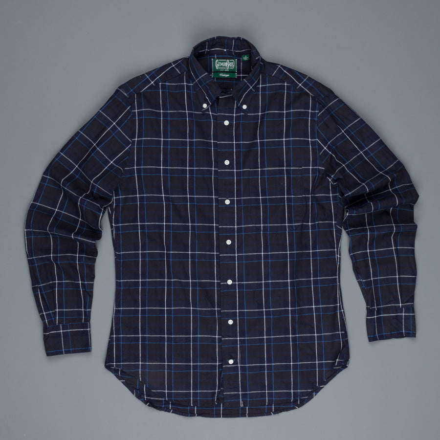 Gitman Vintage Button-Down Shirt Jacquard Check Navy