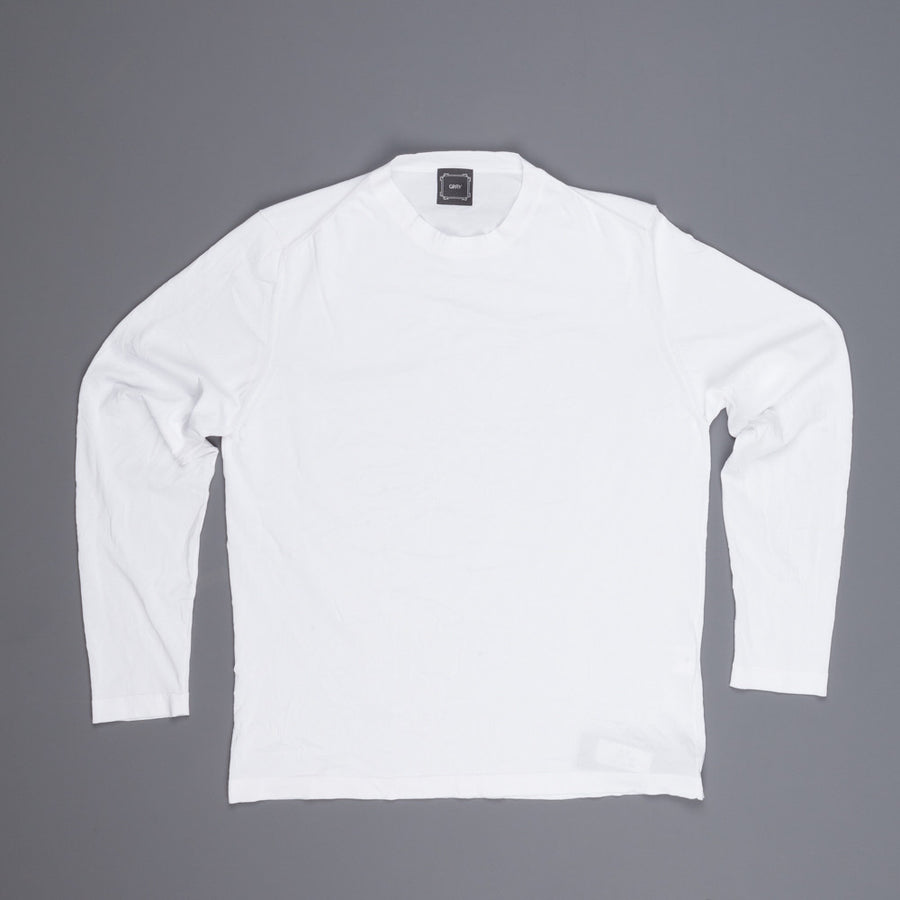 Gray white longsleeve fine wrinkle crew neck