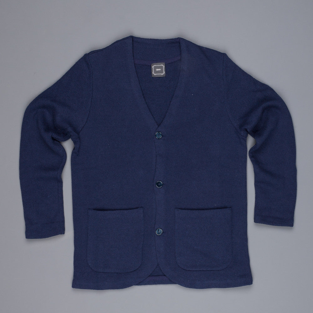 Gray cardigan with rounded hem blue