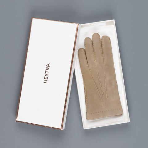 Hestra Gloves Chamois leather gloves cashmere lined beige