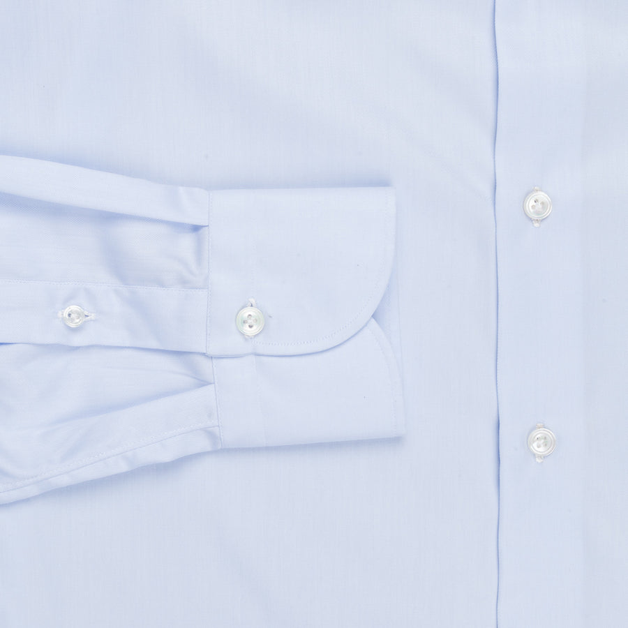 Finamore 'Traveller' Shirt Napoli Fit Collar Eduardo Blue Alumo twill