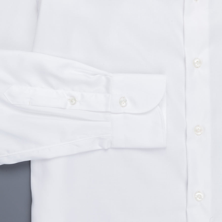 Finamore 'Traveller' Shirt Napoli Fit Collar Eduardo White Alumo twill