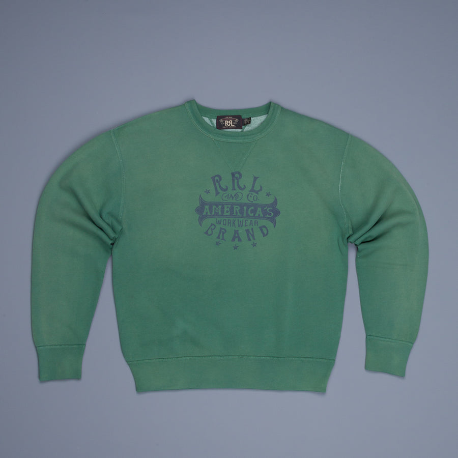 RRL LS Double V Crew Vintage Fit Americana Green