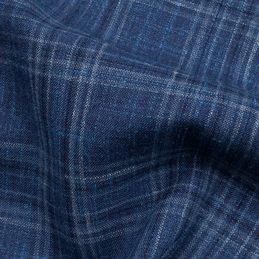 Caruso Aida Jacket Loro Piana Summertime wool blue check