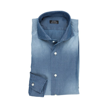 Barba x Frans Boone Slimfit Washed Denim Oxford Shirt