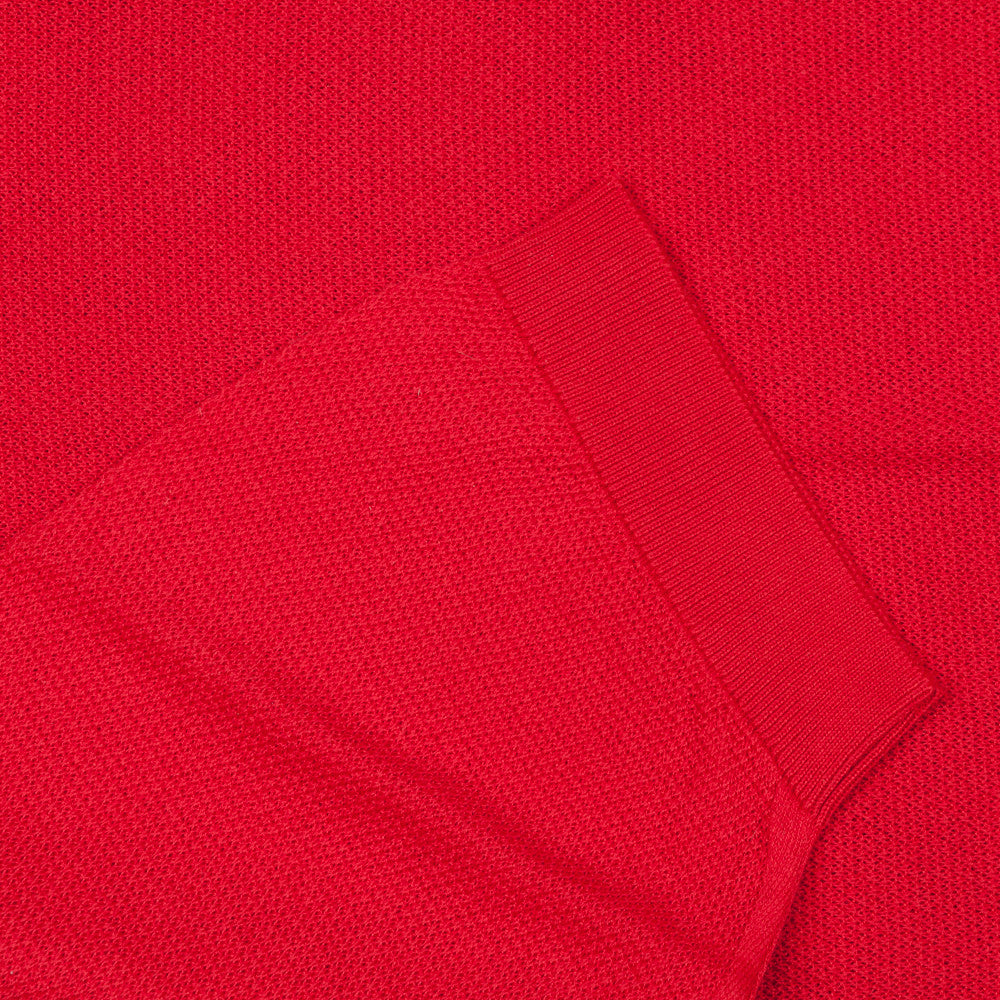 John Smedley roth pique shirt short sleeve guards red