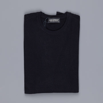 John Smedley singular textured sweater crewneck midnight