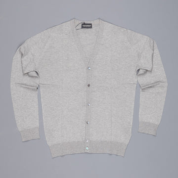 John Smedley Steadman cardigan in cotton silver
