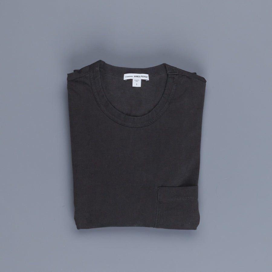 James Perse L/S Crew Neck Pocket Tee Suede Jersey Carbon