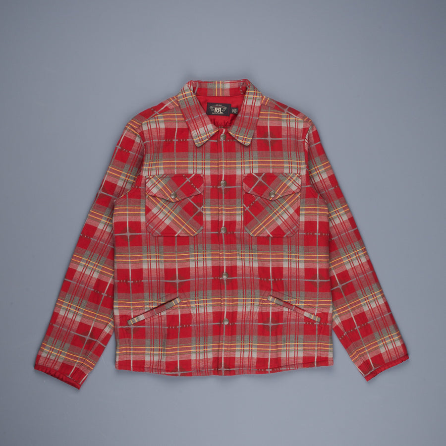 RRL Marcus Workshirt Canadian Jacquard Plaid Red Grey