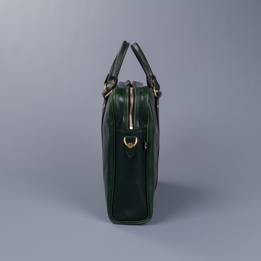 Croots bridle leather Racing green laptop bag