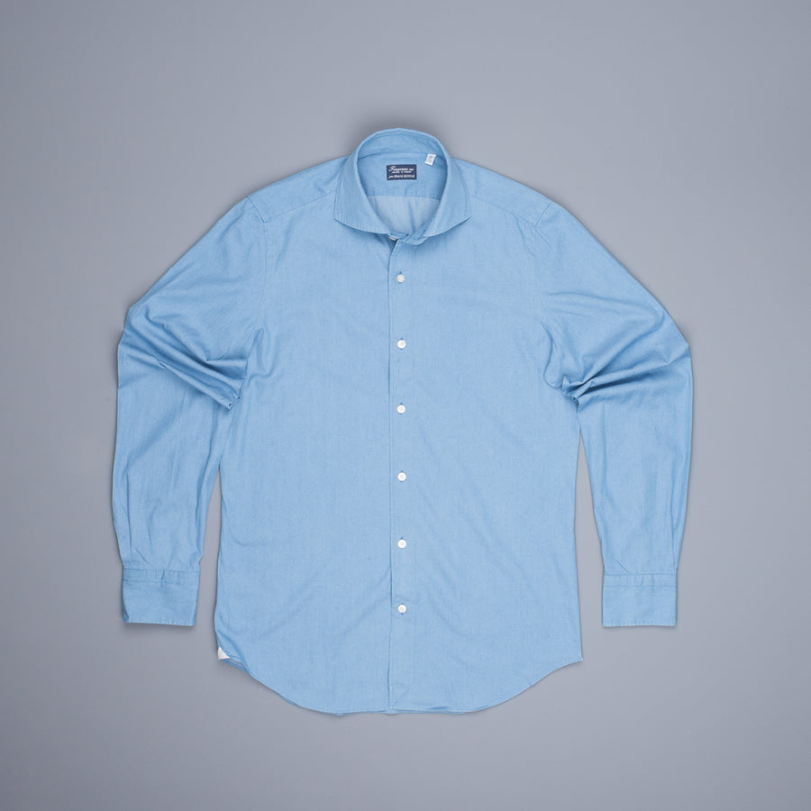 Finamore Tokyo shirt Eduardo Collar sella stitching Light Denim