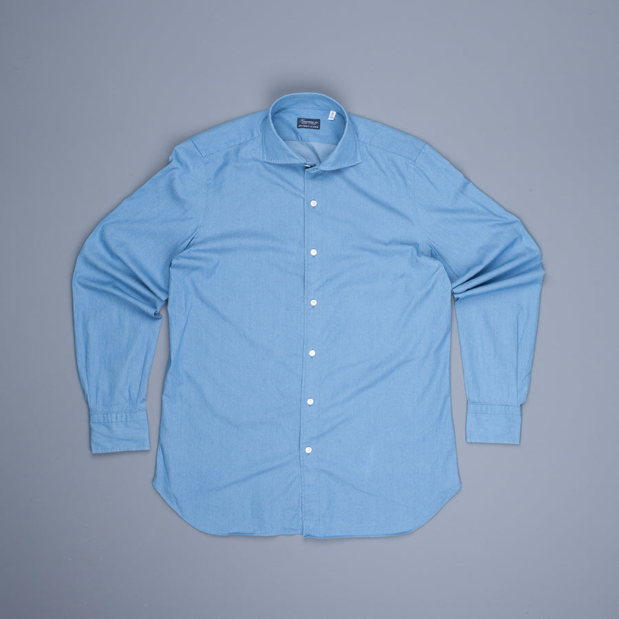 Finamore Gaeta shirt Eduardo Collar sella stitching Light Denim