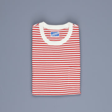 The Real McCoy's Marine Stripe Pocket Tee Red