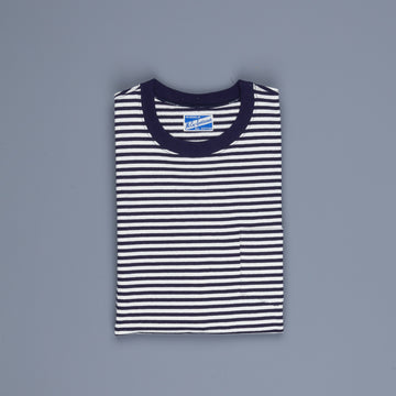 The Real McCoy's Marine Stripe Pocket Tee Navy