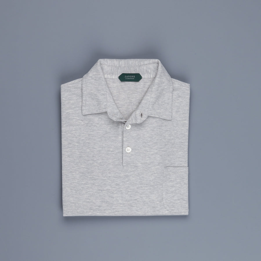 Zanone LS polo ice cotton grey melange