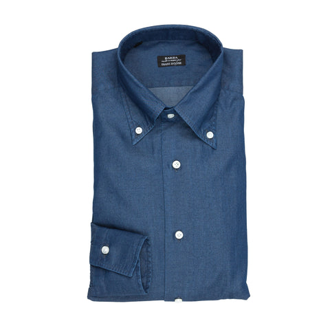 Barba Napoli slimfit button down deep dark denim shirt