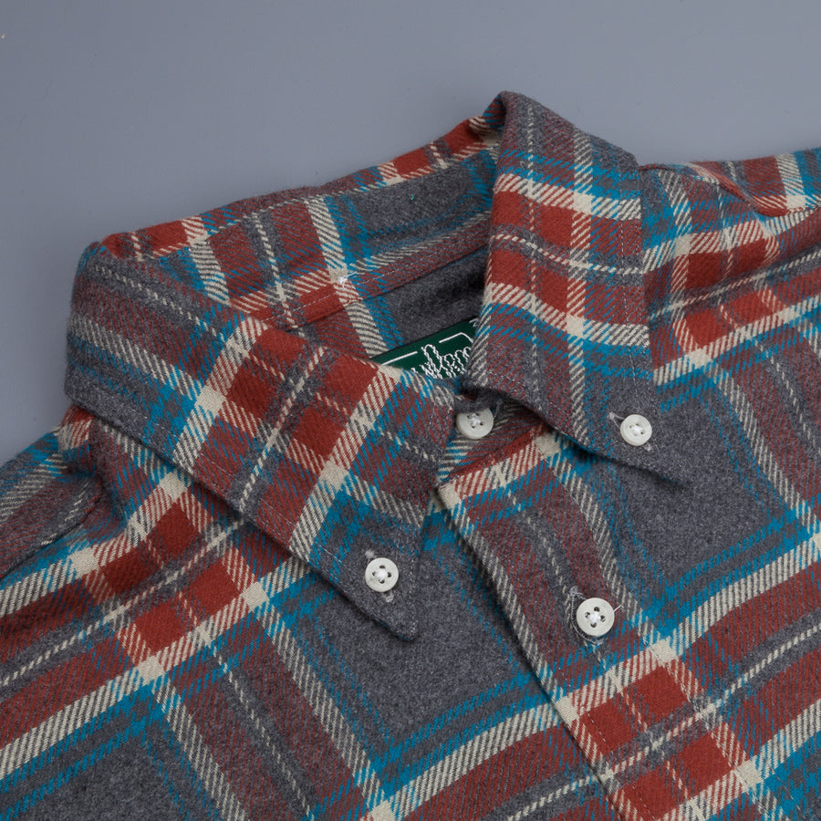 Gitman Vintage Button Down Shirt Grey Rust Flannel Plaid
