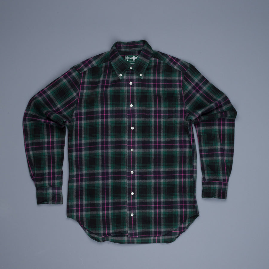 Gitman Vintage Button Down Shirt Green Pink Flannel Plaid