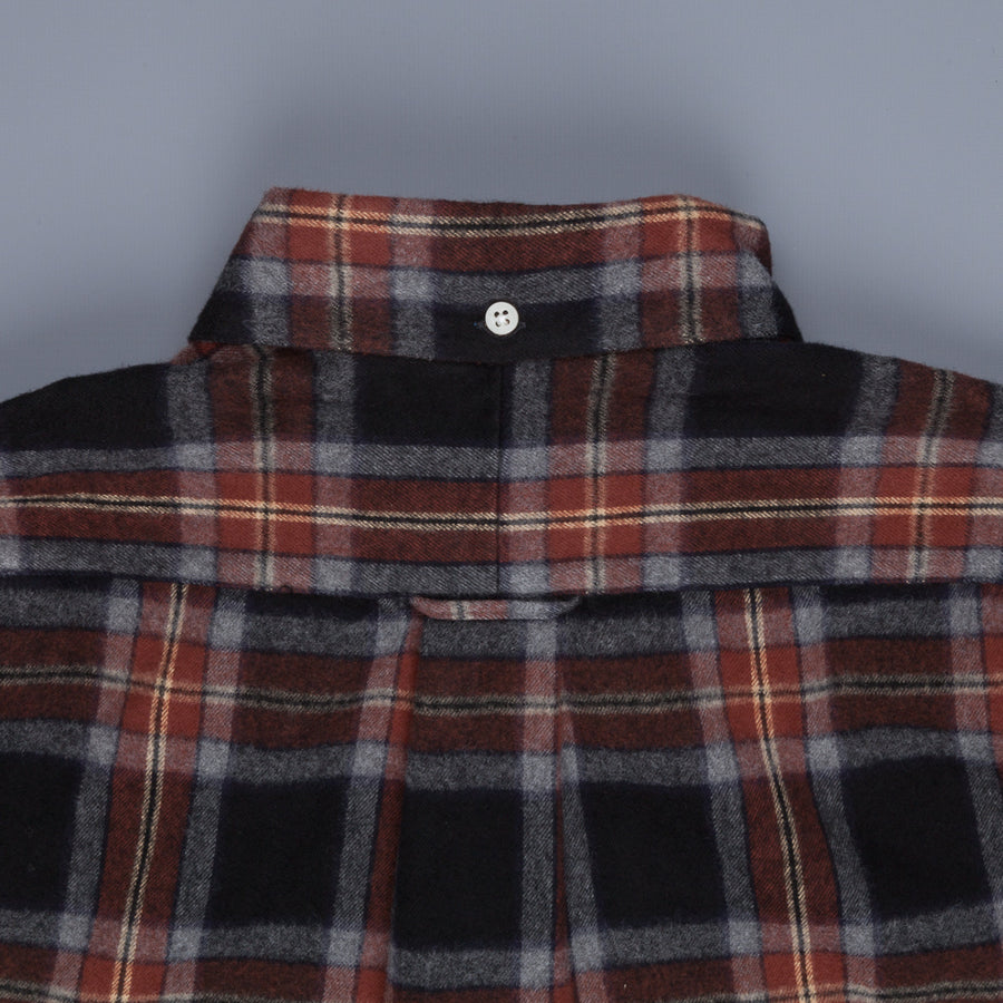 Gitman Vintage Button Down Shirt Navy Brown Flannel Plaid