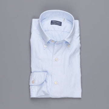 Finamore Gaeta Shirt Lucio Collar washed oxford celeste