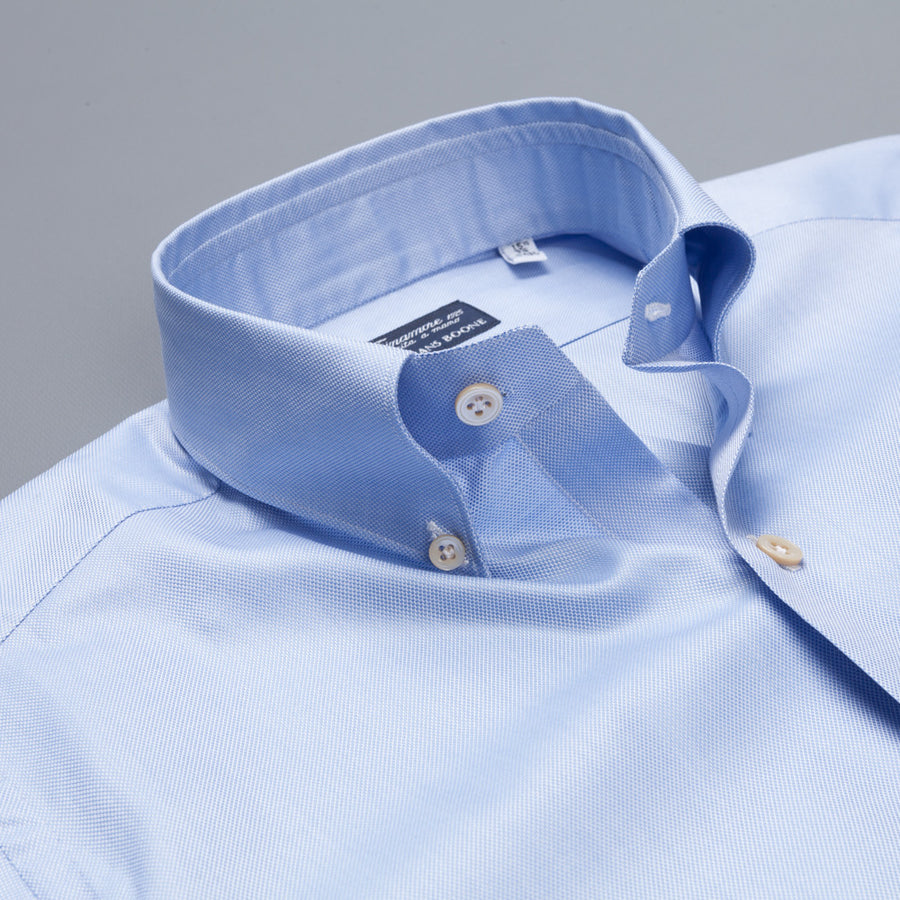 Finamore Milano Leonardo dress button down fine oxford shirt blue