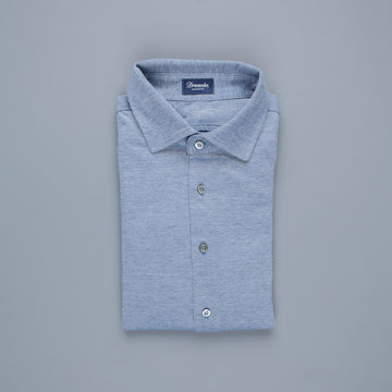 Drumohr Jersey Piquet Shirt Denim Blue