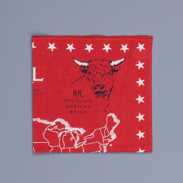 RRL Ridgeway Bandana Red and Greige