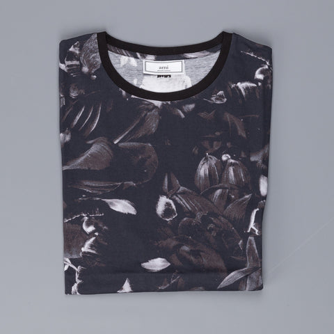 Ami Alexandre Mattiussi, Big Ami crew neck flower print t shirt black grey