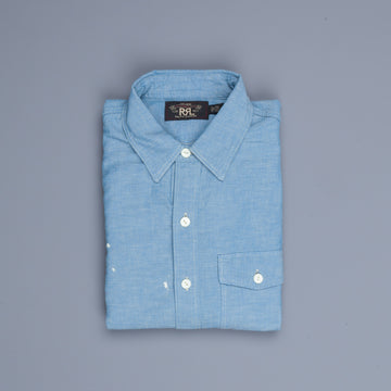 RRL Painted Chambray Workshirt Reactive Blue