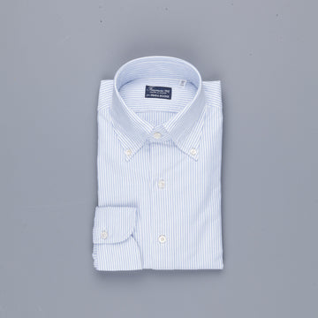 Finamore Gaeta Shirt Lucio Collar brushed oxford light blue stripe