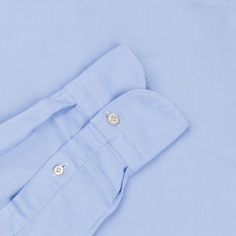 Finamore Gaeta Shirt Lucio Collar washed oxford Midblue