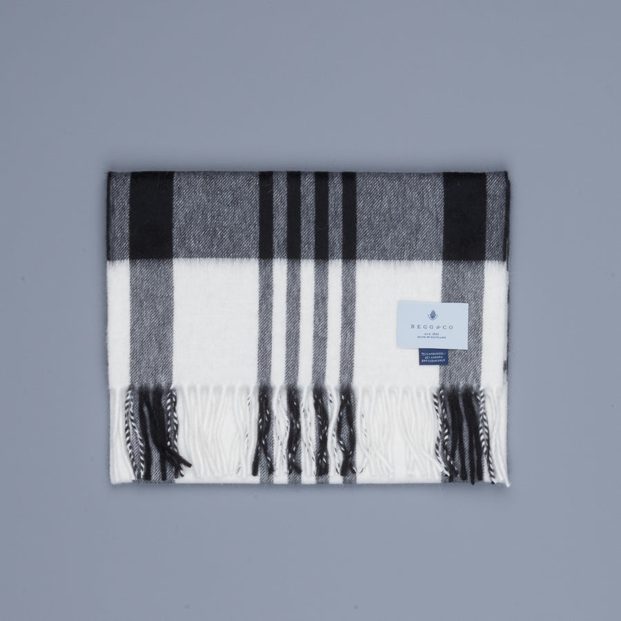 Alex Begg Jura Lambswool Scarf Ingles White & Grey