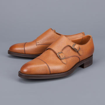 Edward Green Westminster double monk in Almond country calf grain leather on dainite