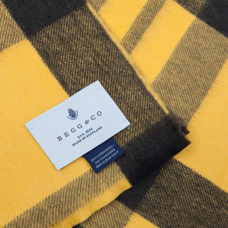 Alex Begg Vale Lambswool Scarf Stadium Khaki & Yellow