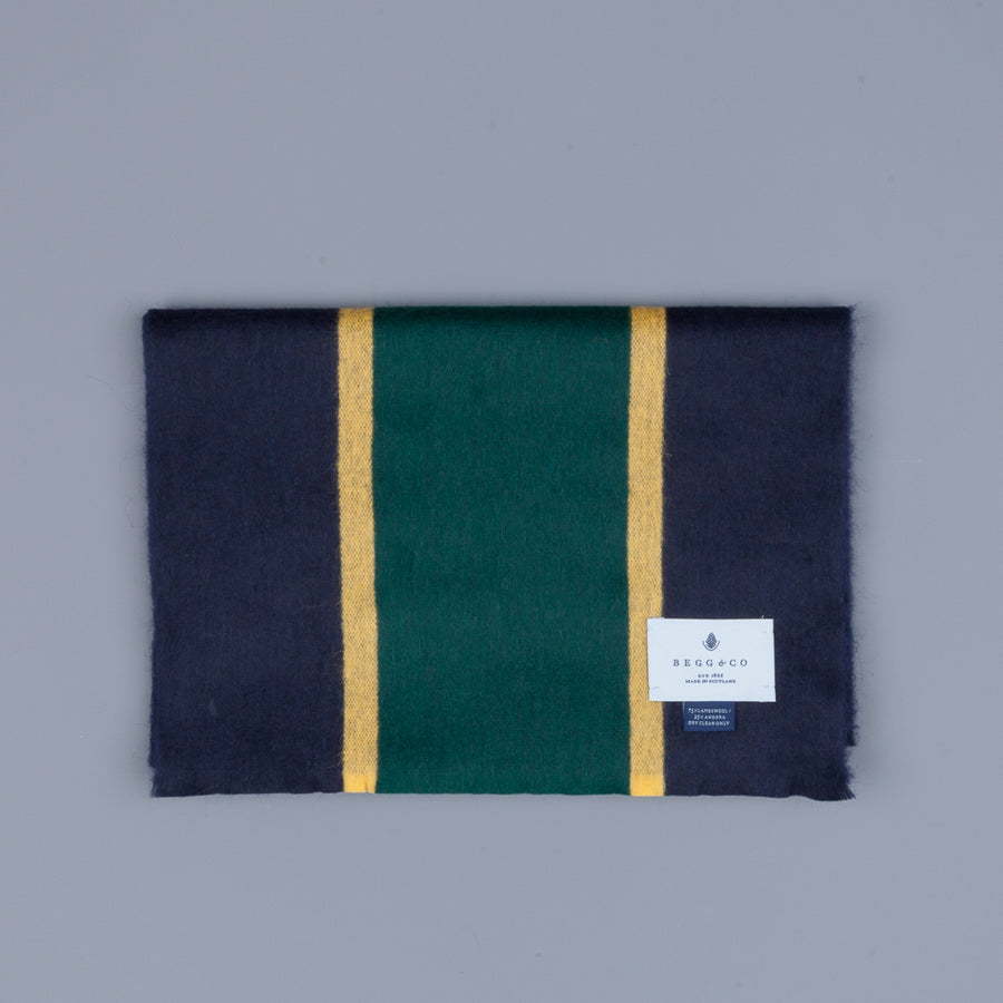 Alex Begg Jura Lambswool Scarf Flemming Navy & Yellow