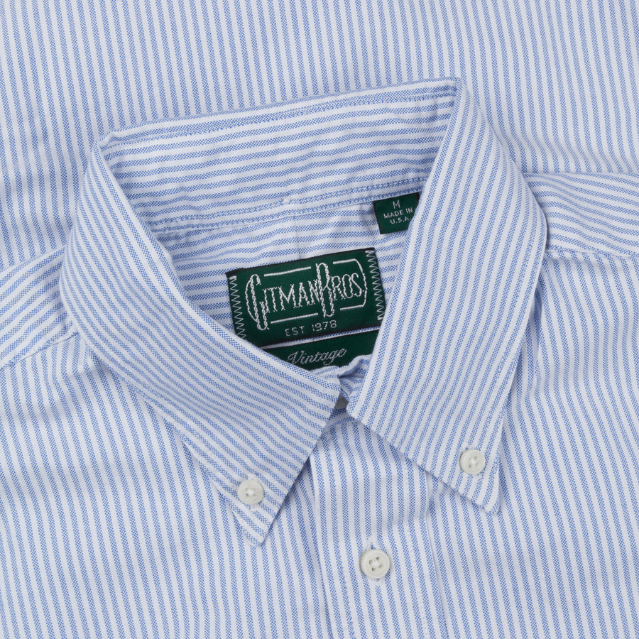 Gitman Vintage oxford button down shirt blue striped