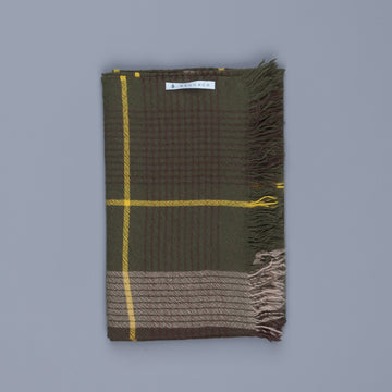 Alex Begg Kishorn Washed Cashmere Shadow Check Dark Olive