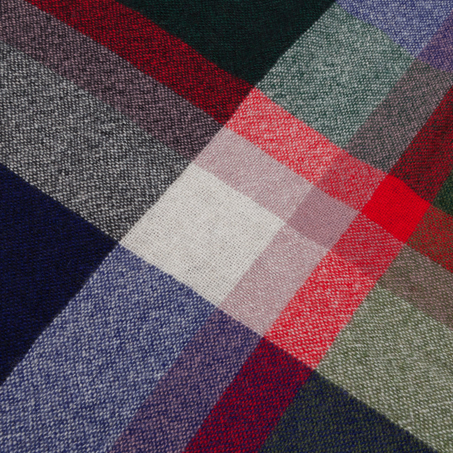 Alex Begg Washed Beaufort Lambswool Scarf Aalto Ink & Red