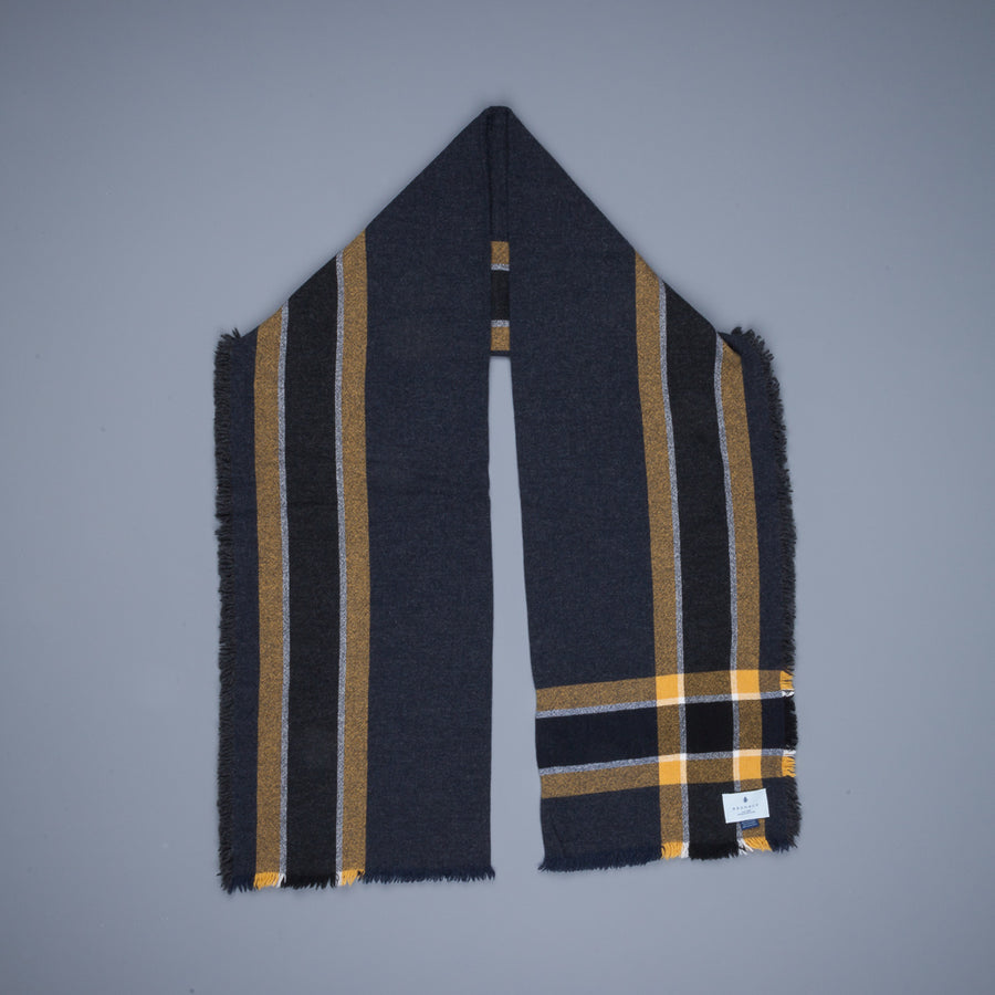Alex Begg Washed Beaufort Lambswool Scarf Brooklyner Navy