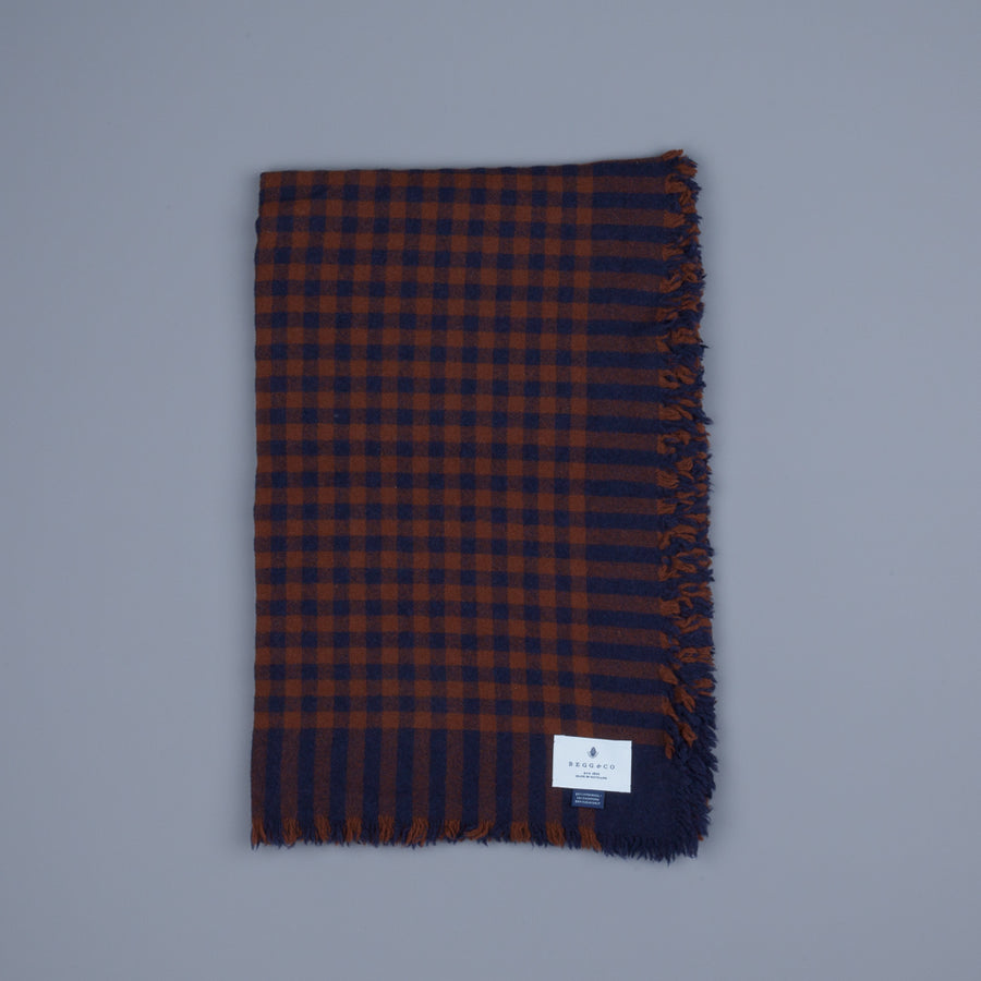 Alex Begg Washed Beaufort Lambswool Scarf Herder Navy & Chocolate