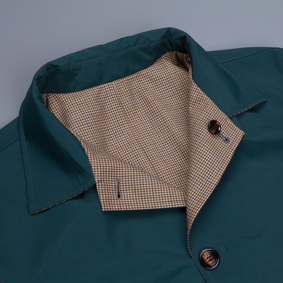Kired Reversible Peak Coat Checked Wool Holly Verde Nylon