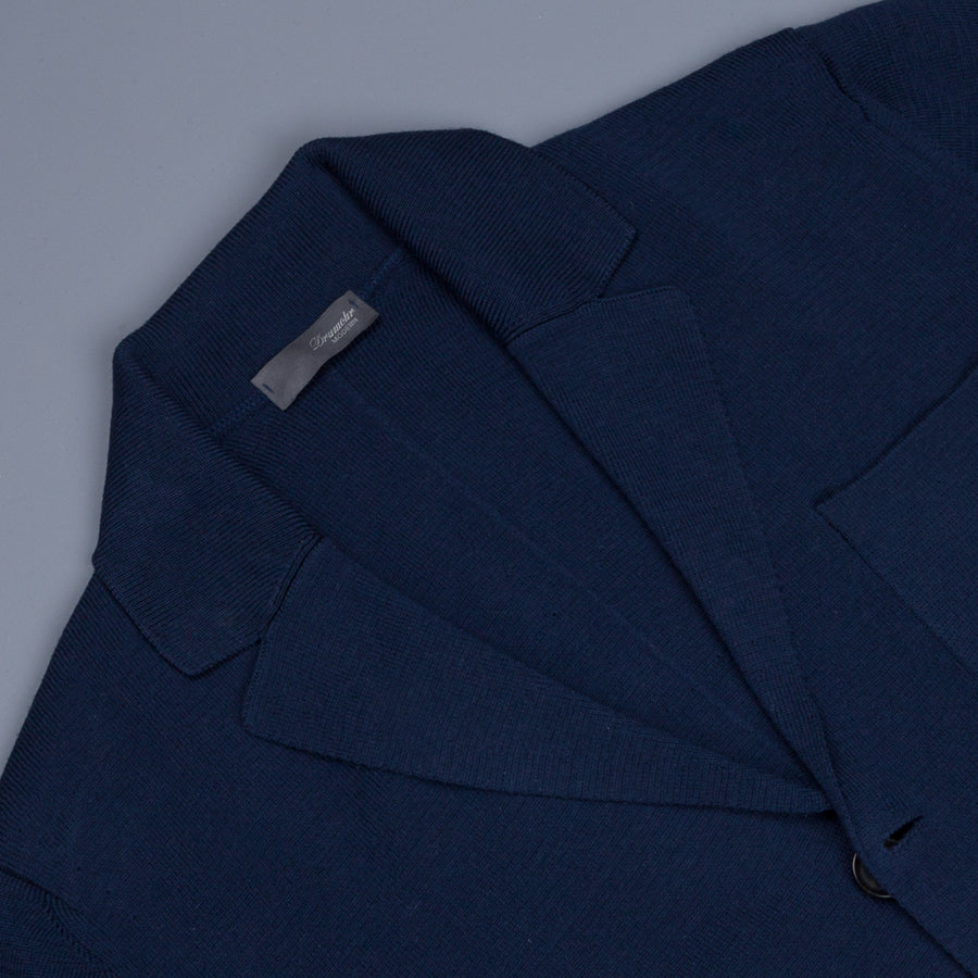 Drumohr Knitted Jacket Merino Wool Blu
