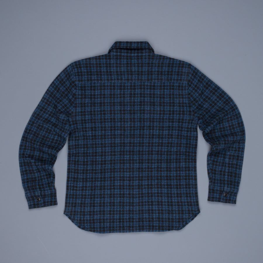RRL Wool and Cashmere Jacquard Workshirt Indigo Check