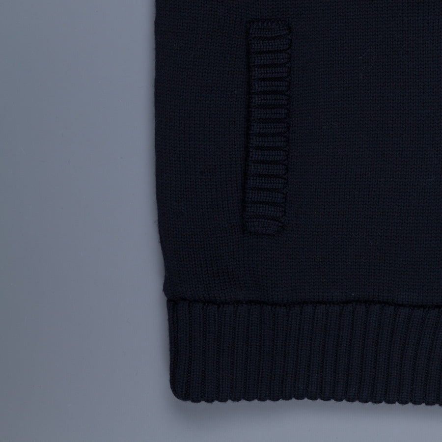 Zanone Warm Chioto Mock Neck Cardigan Blu Navy