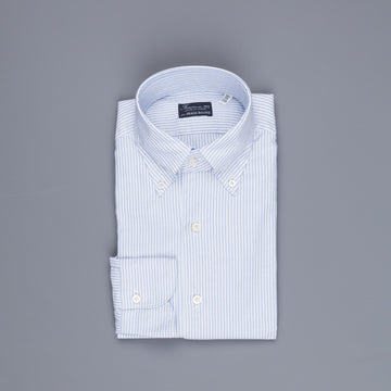 Finamore Tokyo Shirt Lucio Collar brushed oxford Light Blue Stripe