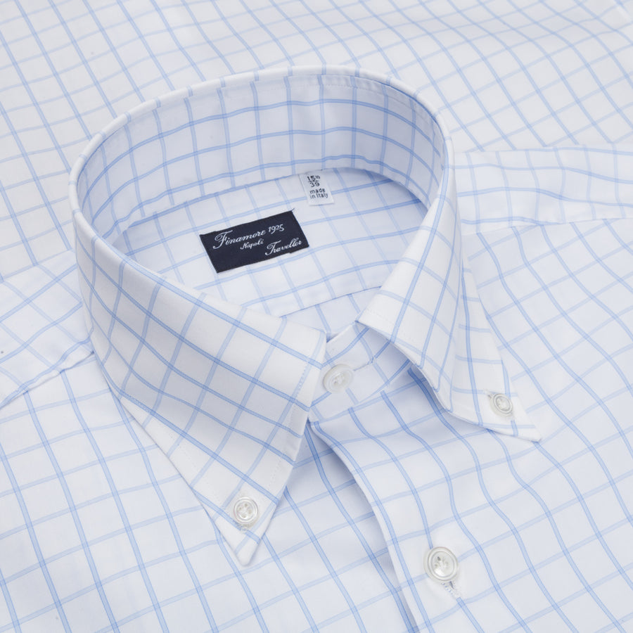 Finamore 'Traveller' Shirt Milano Fit Collar Lucio Alumo Twill Blue windowpane check