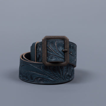 RRL Souvenir Hand-Tooled Leather Indigo Belt